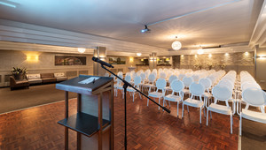 Presentation room with lectern and theater setup
