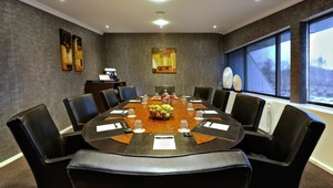 Boardroom with oval table and lots of daylight